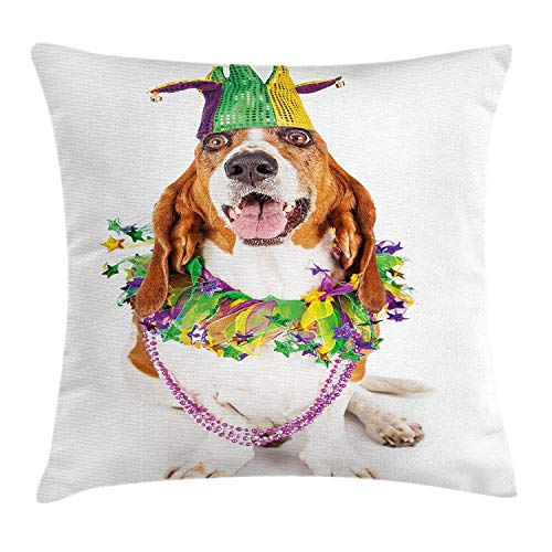 WEWELA Mardi Gras Throw Pillow Cushion Cover, Happy Smiling Basset Hound Dog Wearing a Jester Hat Neck Garland Bead Necklace, Decorative Square Accent Pillow Case, 18 X 18 inches, Multicolor