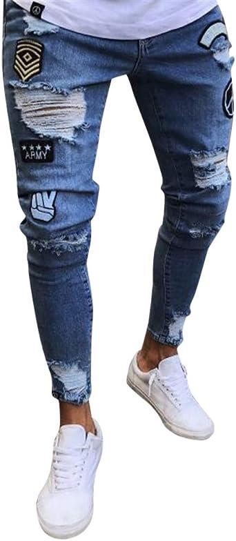 Missmaom Pantalones Vaqueros Hombres Rotos Pitillo Originales Slim Fit Skinny Pantalones Casuales Elasticos Agujero Pantalon Amazon Es Ropa Y Accesorios