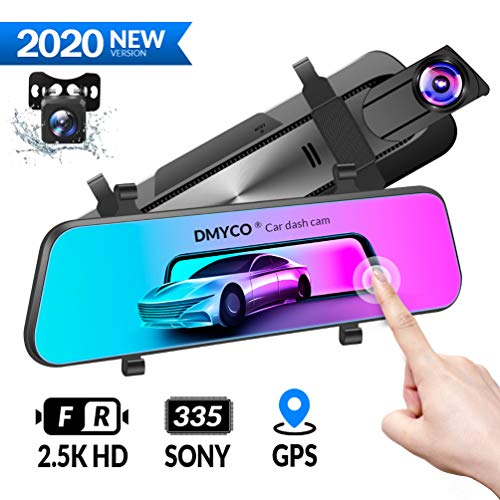 """DMYCO 10"""" 2.5K Mirror Dash Cam Backup Camera for Cars [GPS Version],Front and Rear View Dual Lens,Super Night Vision,Anti Glare IPS Touch Screen"""