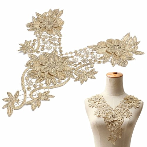 3D Flower Floral Guipure Collar Fake Neckline Lace Trim Embroidered Neck Applique Sewing Craft Classic Embroidery Collar(Gold)