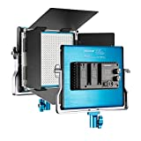 Neewer Metal Bi-Color LED Video Light for Studio, YouTube, Product Photography, Video Shooting, Durable Metal Frame, Dimmable 660 Beads, with U Bracket and Barndoor, 3200-5600K, CRI 96+ (Blue)