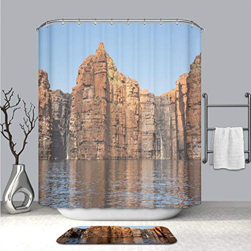 BEICICI Creative Shower Curtain and Bath mat Rug Panorama of King George River Falls Kimberley Coast Fabric Bathroom Curtains with Non-Slip Floor Doormat Rugs
