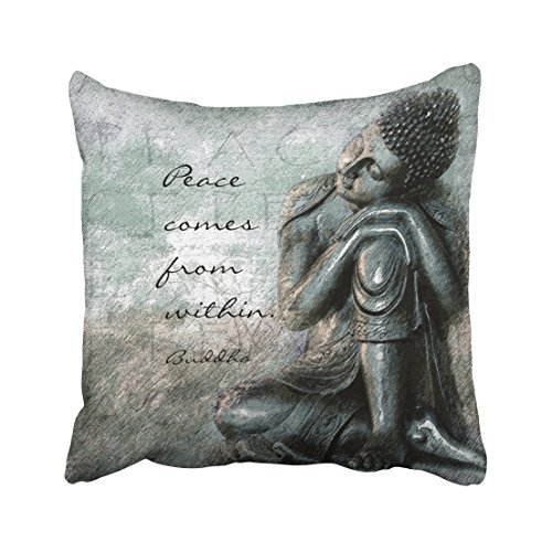 Capsceoll buddha with peace quote words of wisdom Decorative Throw Pillow Case 16X16Inch,Home Decoration Pillowcase Zippered Pillow Covers Cushion Cover with Words for Book Lover Worm Sofa Couch