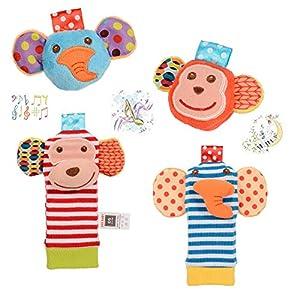 Twister.CK Baby Hochet, 4 pcs bébé hochet Poignet et Trouveur de Pied Set Chaussette Jouets Jouets d'éveil Animaux Mous…