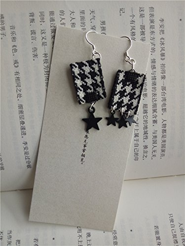 usongs Fairy original black and white houndstooth elements earrings ear clip earrings creative sterling silver collar neckband