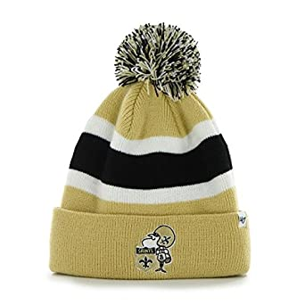 "797d84f198632f Image Unavailable. Image not available for. Color: New Orleans Saints Gold  Cuff ""Breakaway"" Beanie Hat with Pom ..."
