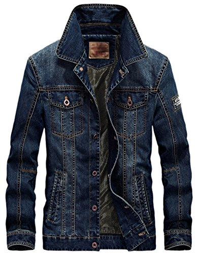 Denim Button Jacket Mediumweight Dark Classic Blue Trucker Chouyatou Front Rugged Men's tSY8qY