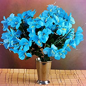 Inna-Wholesale Art Crafts New 6 Turquoise Bushes Silk Mini PRIMROSES Decorating Flowers Bouquets Decorations Sale - Perfect for Any Wedding, Special Occasion or Home Office D?cor 106