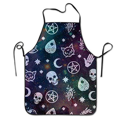 Aprons for Women/Men, Chef Cook Kitchen Bib Apron Waterproof Perfect for Cooking,Baking,Crafting,BBQ - Witch Skulls Magic Cats Toolss