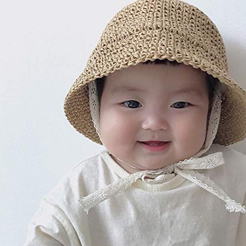 The Bunny Baby Sun Hat, Toddler Straw Sun Hat with Wide Brim Sun Protection and Travel Beach, Foldable Made (48cm) Beige ()