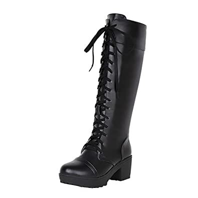 cac7d3328 Vitalo Womens Lace Up Knee High Combat Boots Block Heel Platform Military  Boots Size 4 B
