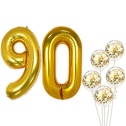 Number 90 and Gold Confetti Balloons - Large, 40 Inch Foiil Gold Balloons | 5 Gold Confetti Balloons, 12 Inch | 90th Birthday Party Decorations | Party Supplies for Anniversary Décor