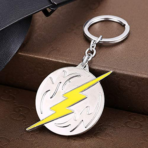 Value-Smart-Toys - New Super Hero The Flash Logo silver Keychains Key Chain Round Metal Pendants Key Ring For Boys