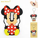 LG K7 Case,LG K7 Soft Silicone Gel Rubber Case,Robot Minions 3D Cartoon Red Mouse Minnie Skin Case Cover for LG K7 +Cartoon Key Chain