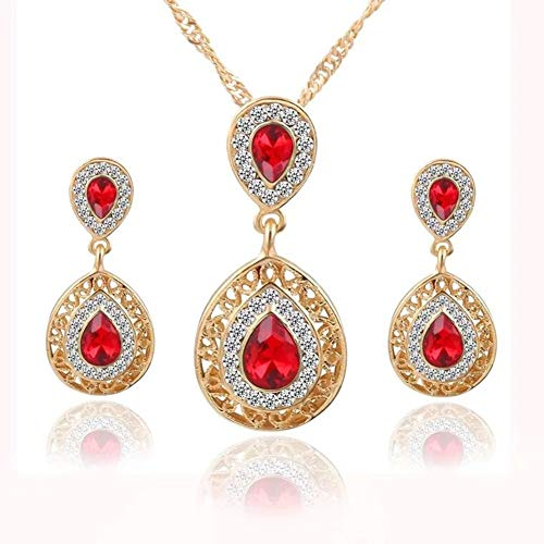 - KissYou Women's Gold Plated Cubic Zirconia Teardrop Bridal Crystal Pendant V-Necklace Set Dangle Earrings Jewelry Set Red