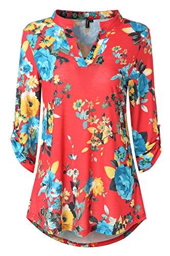 Zattcas Womens Floral Printed Tunic Shirts 3/4 Roll Sleeve Notch Neck Tunic Top (Medium, Slub Fabric-Coral Red Multi) (Red Flower Shirts)