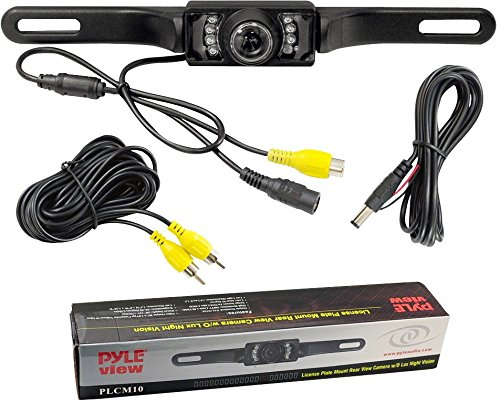 Pyle PLCM10 License Plate Mount w/Wide Angle,Color,Night Vision Rear View Camera ()