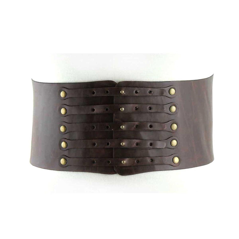 Women's Fashion Multiple Buckle Enclosure on Quality Leatherette Elastic Stre...