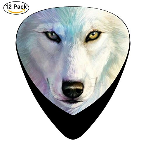 Wolf Celluloid Guitar Picks 12 Pack Includes Thin,Medium,Heavy Gauges For Electric Acoustic Guitar ()