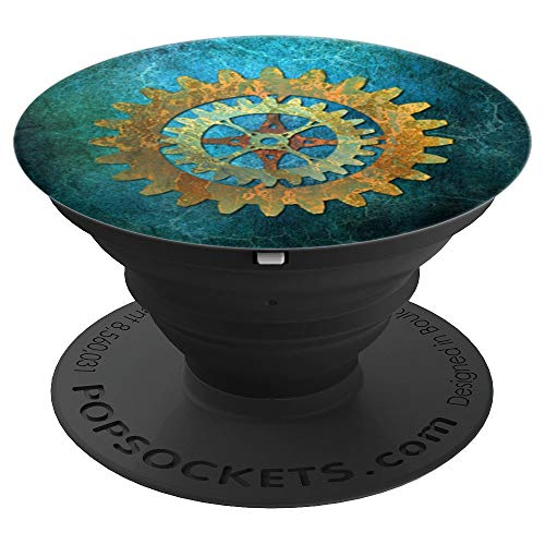 (Steampunk Verdigris Rusty Cogwheel - PopSockets Grip and Stand for Phones and Tablets)