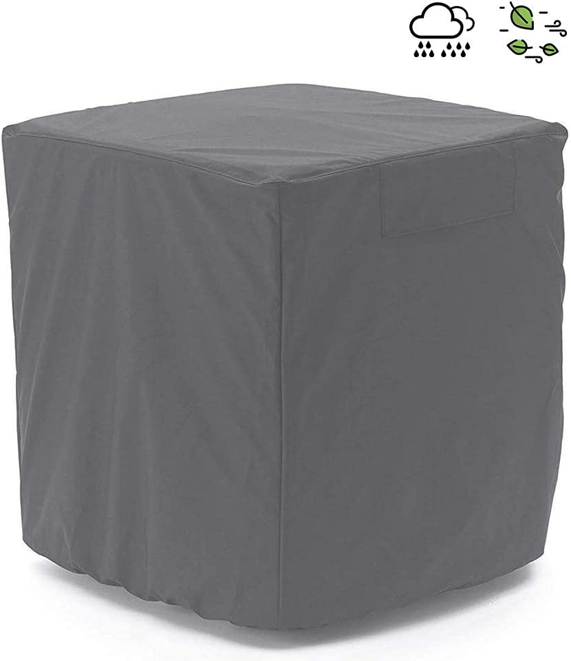 Air Conditioner Cover Heavy Duty Waterproof Durable for Outdoor Elastic Bottom for Secure Fit 3 YR Warranty Year Around Protection -Gray W34inD34inH30in