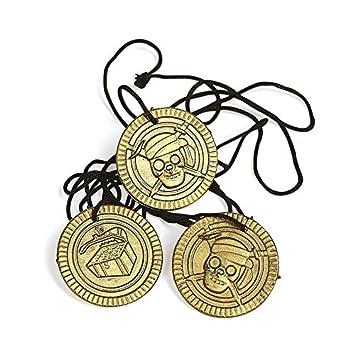 Cama24com Piraten Party Halsketten Mit Totenkopf Münze Goldmünzen 12