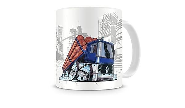 KOOLART caricatura de camiones Renault Magnum de la historieta aritculadas Log - Taza de café de remolque: Amazon.es: Hogar