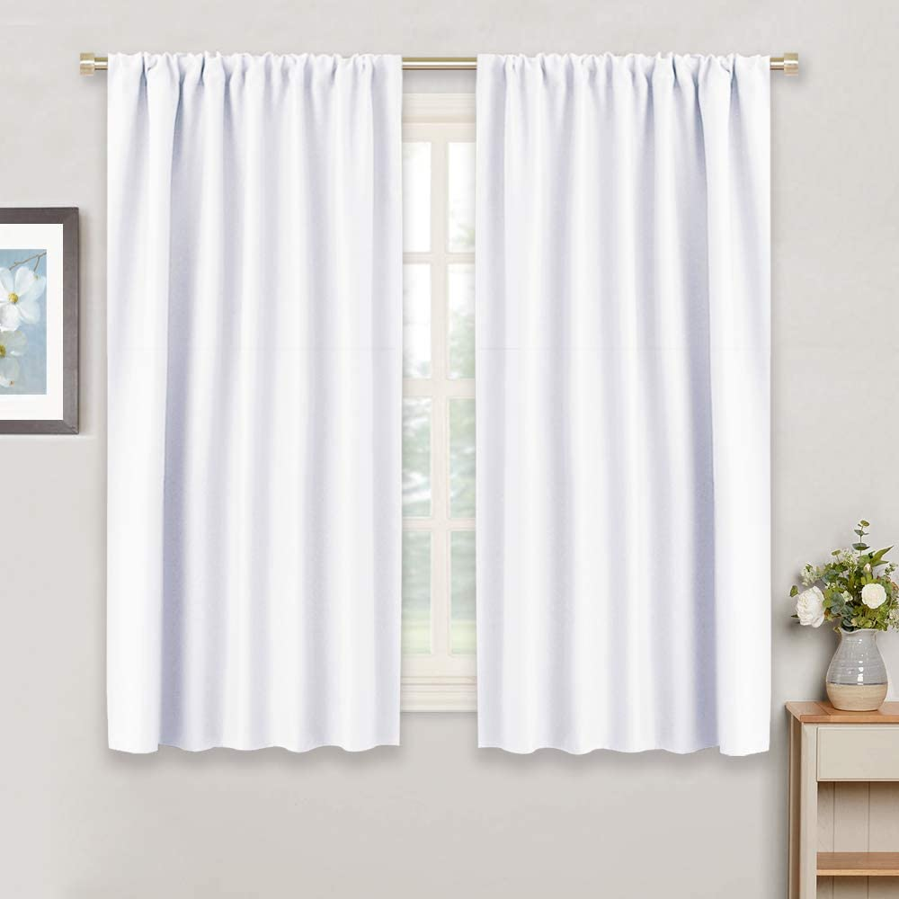RYB HOME Room Darkening Thermal Insulated Curtains, Rod Pocket Half-Light Block Curtains Windows Dressing Privacy Protect for Bathroom Kids Nursery, Wide 42 x Long 54 inch, Pure White, 1 Pair