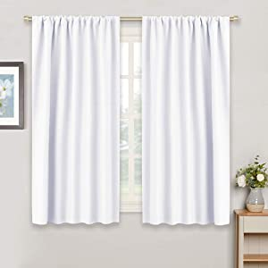"Bedroom Room Darkening Curtains Shades - Home Decoration Rod Pockets Window Covering Curtain Drapes Noise Reducing for Living Room/Kitchen, W 42"" x L 45"", Pure White, 2 Pieces"