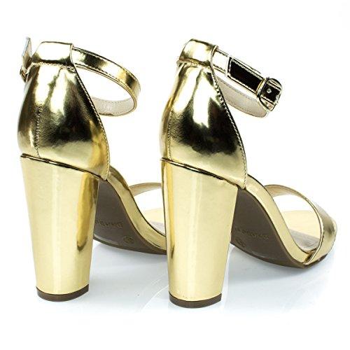 Bambus Kvinners Enkelt Bånd Tykk Hæl Sandal Med Forstropp (7,5, Gull Patent)
