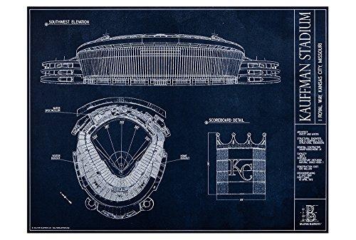 Kauffman Stadium Blueprint Style Print Unframed