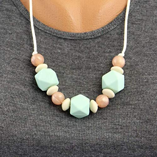 (Gumeez 'Boho Chic' Teething Necklace   Beach Fashion   for Mom & Dad   Includes Jammy Jams Lullaby Album - Digital Download (Georgia - Mint, Linen & Rose) )