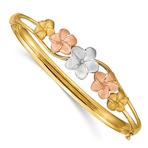 14k Yellow Gold Tri Color Plumeria Bangle Bracelet Cuff Expandable Stackable Fine Jewelry Gifts For Women For Her ()