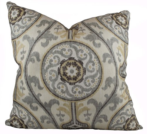 Beige and Gray Suzanni Pillow Cover - Magnolia Home Fashions Oh Suzanni Metal Pillow Cover - 20 Different Sizes - Bottom Invisible Zipper Closure