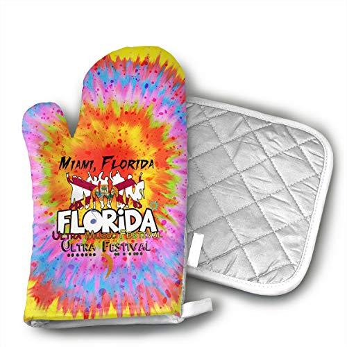 FIREBOOM Florida Music Festival Oven Mitt & Potholder Oven Glove Combination Kitchen Safe Heat Resistant Non-Slip.