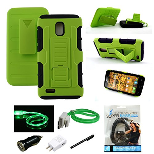 Alcatel OneTouch Conquest Case, Mstechcorp - Heavy Duty Hybrid Armor Dual Layer Kickstand Belt Clip Holster Combo Rugged Case for Alcatel OneTouch Conquest 7046T - Includes Accessories (S Green)
