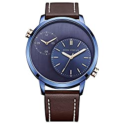MINIFOCUS Men Casual Watch Genuine Leather Band Dual Time Zone Waterproof Outdoor Quartz Wristwatch (Blue)
