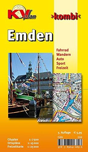 Emden: 1:15.000, mit Freizeitkartenseite 1:25.000, Cityplan 1:7.500 (KVplan-Kombi-Reihe) Landkarte – Folded Map, 31. Oktober 2015 Kommunalverlag Tacken e.K. 3896416898 Nordseeküste und -inseln Atlas