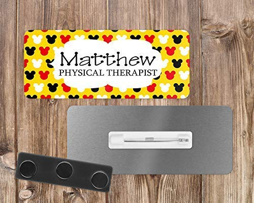 (Disney-Inspired Mickey Mouse Design Personalized Custom Name Tag or Name Badge - Magnetic or Pin Back - Plastic or Aluminum)