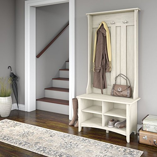 Sturdy, Elegant and Spacious Ottoman Hall Tree with Storage Bench, 4 Open Cube Shelves, 3 Double Prong Hooks, Sturdy and Long Lasting Manufactured Wood Construction, De-Clutter, Antique White Finish