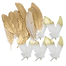 MagiDeal 24 Piece White+Gold Dyed Goose Feather Trim for DIY Crafts Millinery Costume 15-20cm