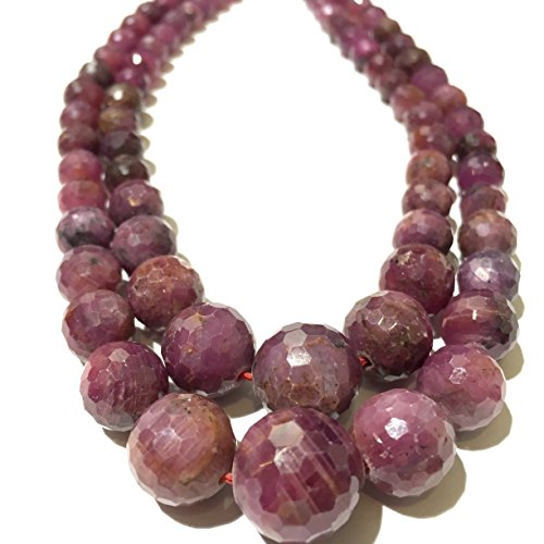 [AfricaGemsUSA] Madagascar Ruby (100% Natural Color) Graduated 5mm to 12mm Faceted Round Beads. Approx. 18 inches
