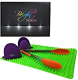 Bright Dezigns Silicone Baking Mat Non-Stick with Heat Resistant Oven Mitts and 12 inch Tongs. Ideal for Healthy Fat Free Cooking Grilling Baking Cookie Sheet. Gift boxed