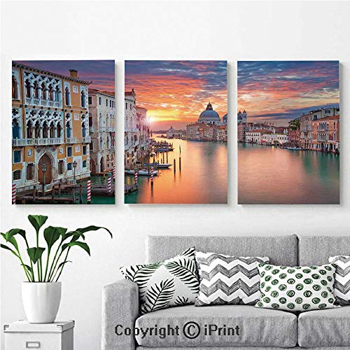 - Canvas Prints Modern Art Framed Wall Mural Image of Grand Canal in Venice Horizon European Town International Heritage Urban for Home Decor 3 Panels,Wall Decorations for Living Room Bedroom Dining R