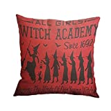 Nunubee Home Sofa Decor Cushion Cover Witch Cat Pumpkin Pillowcase Halloween 19
