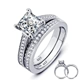 Women Wedding Ring 2 Carat Round Brilliant Cubic Zirconia Engagement Promise Anniversary Ring Solitaire Wedding Band Bridal Set
