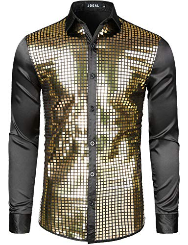 JOGAL Mens Dress Shirt Silver Sequins Long Sleeve Button Down 70s Disco Shirt Party Costume Small A348 Gold ()
