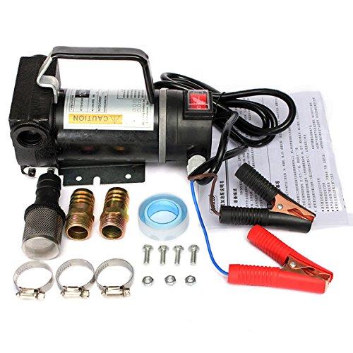 12V Portable Fuel Diesel Pump Oil Transfer Pump Self Priming 45L/Min 200W Black by Ologymart