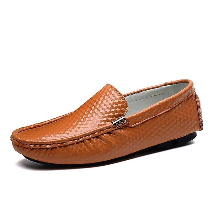 FHTD Mocasines Pisos Slip para hombre Mocasín Zapato de cuero hecho a mano Moda Transpirable Zapatos: Amazon.es: Ropa y accesorios