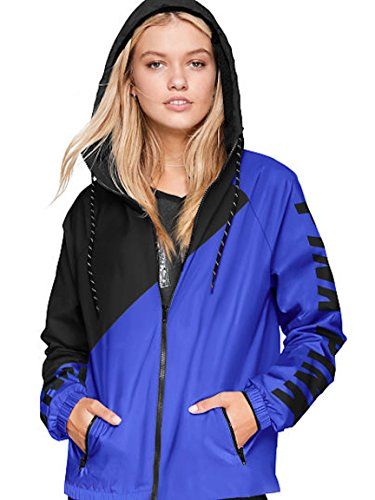 Victoria's Secret Pink Anorak Windbreaker Jacket Full-Zip Blue